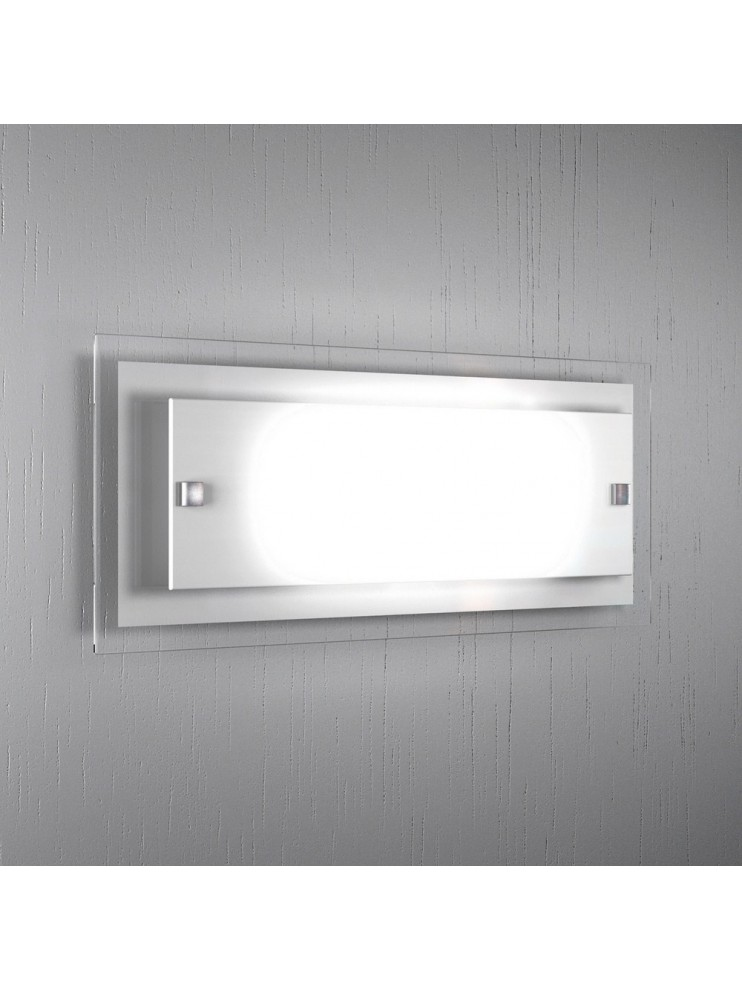 Applique 2 luci moderno vetro bianco tpl1087-agbi