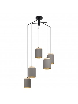 Modern 5-light fabric and wood chandelier GLO 99447 Albariza