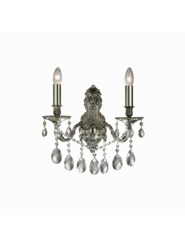 Classic wall light with 2 lights Gioconda silver crystals