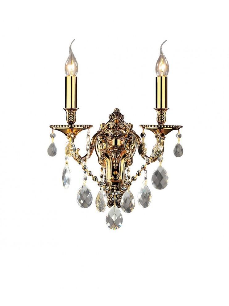 Applique classico con cristalli 2 luci Gioconda oro
