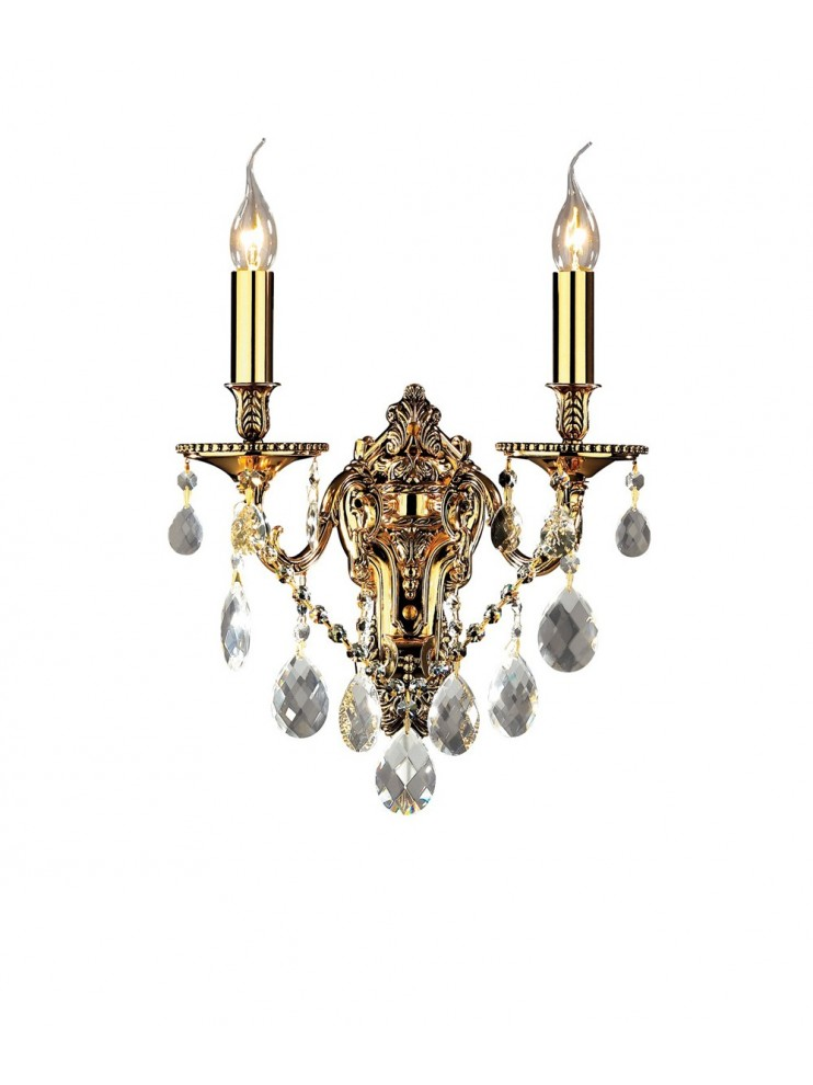 Classic wall light with 2 lights Gioconda gold crystals