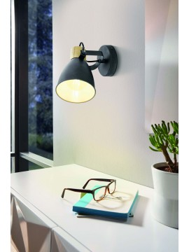 Modern design black and wood wall light GLO 99074 Coswarth