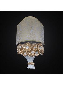 Applique in ceramica 1 luce bianco foglia oro coll. BGA 2664/A