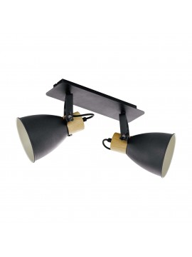 Modern design black and wood applique spotlight 2 lights GLO 99075 Coswarth