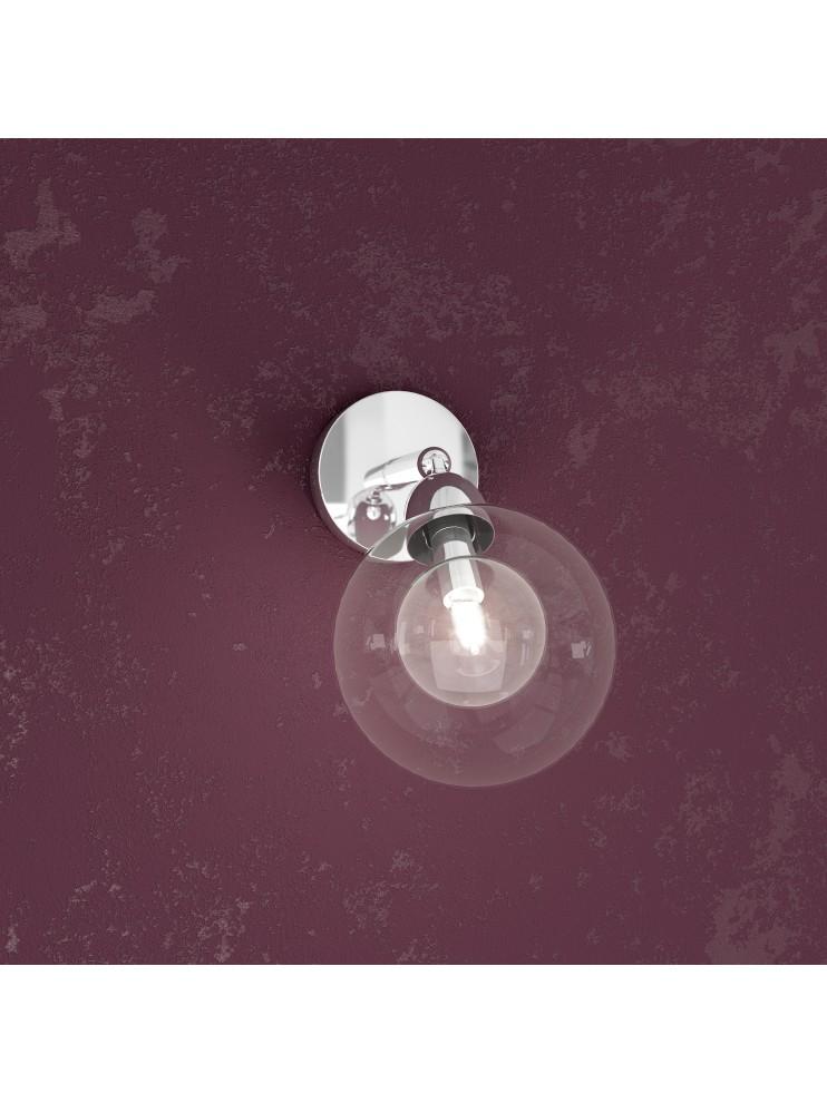Applique 1 luce con sfera di vetro tpl1098-f1tr