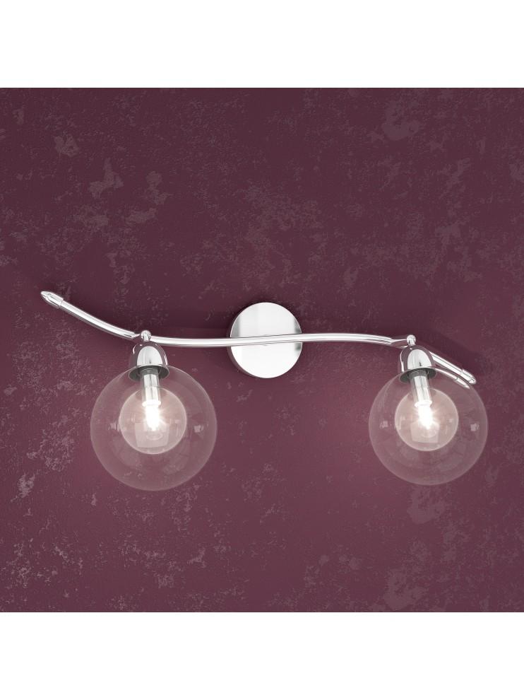 Applique 2 luci con sfere di vetro tpl1098-f2tr