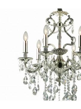 Lampadario classico con cristalli 6 luci Gioconda argento