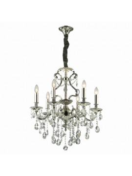 Classic chandelier with crystals 6 lights Gioconda silver
