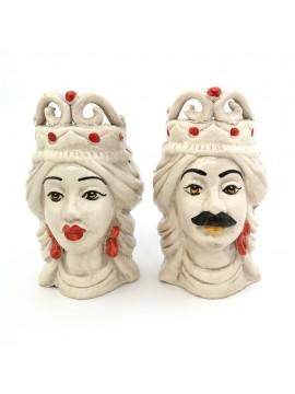 Pair of Moor's heads h15 cm in red caltagirone ceramic