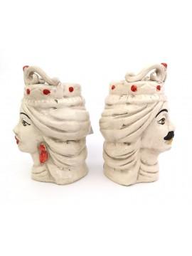 Coppia teste di moro h15 cm in ceramica di caltagirone rossa