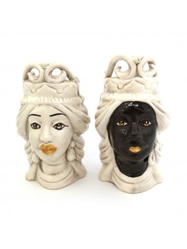 Pair of Moor's heads h15 cm in smoked Caltagirone ceramic