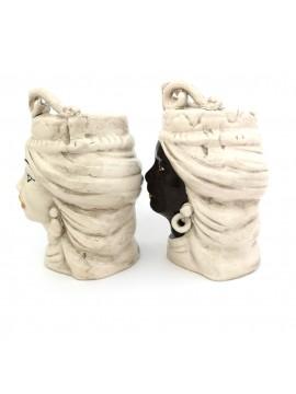 Coppia teste di moro h15 cm in ceramica di caltagirone fumè
