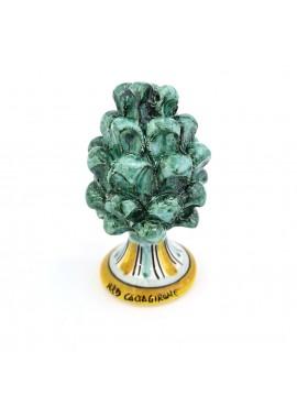 Pinecone in Caltagirone ceramic h10 cm green