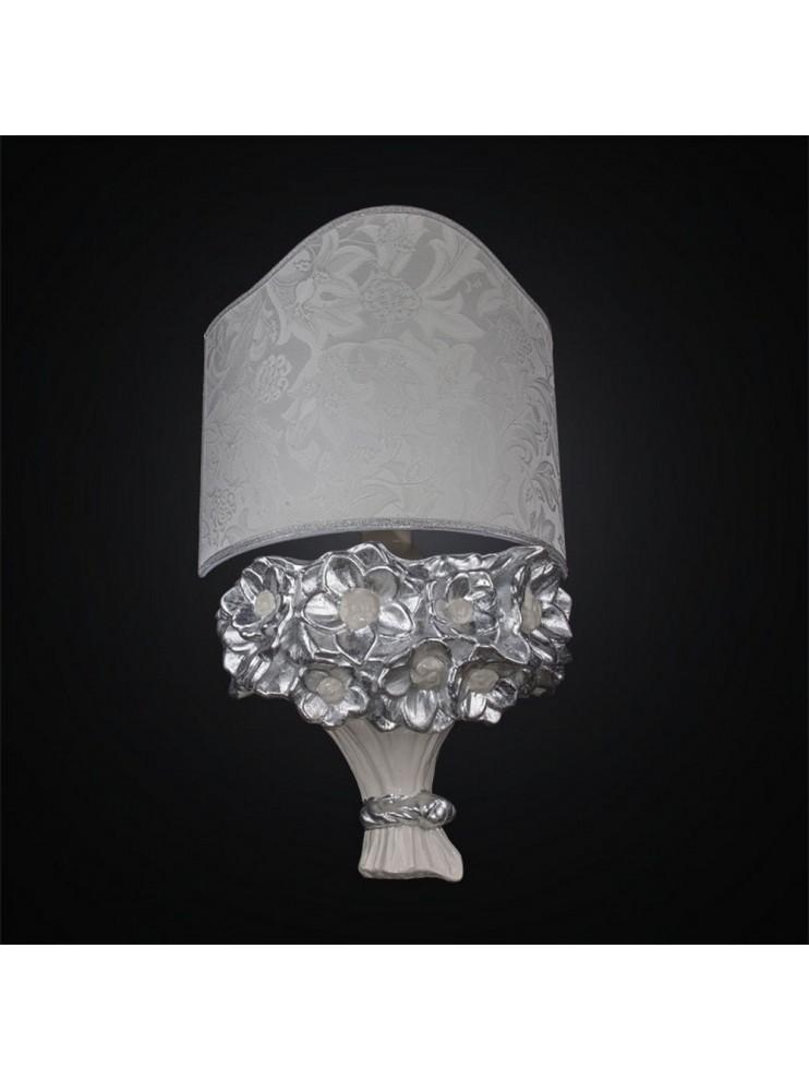 Applique in ceramica 1 luce mazzo di fiori bianco foglia argento BGA 2664/A