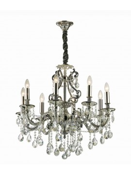 Classic chandelier with 8 lights Gioconda silver crystals