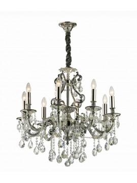 Lampadario classico con cristalli 8 luci Gioconda argento