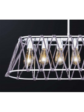Modern vintage white rope chandelier with 6 lights BGA 3134-s75