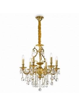 Lampadario classico con cristalli 6 luci Gioconda oro
