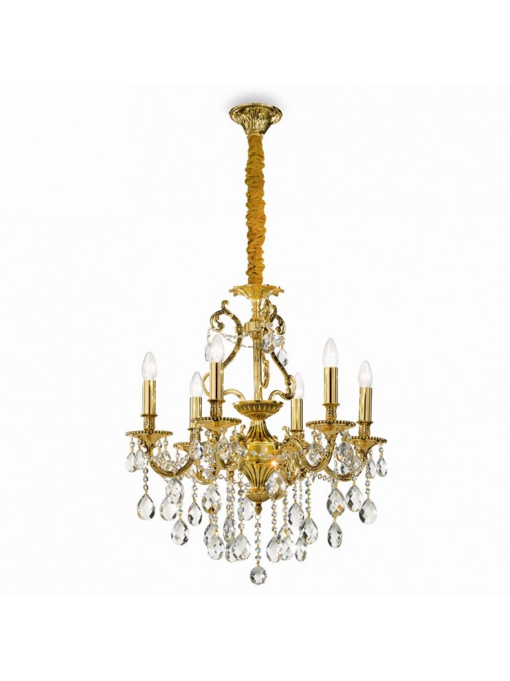 Classic chandelier with 6 lights Gioconda oro crystals