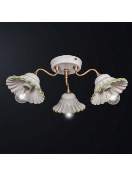 Plafoniera classica in ottone e ceramica bianca-verde 3 luci BGA 3141-3