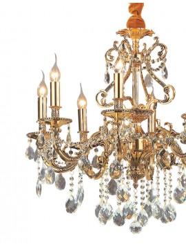 Lampadario classico con cristalli 8 luci Gioconda oro