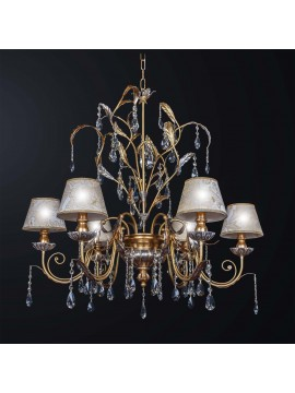 Classic chandelier in wood and gold leaf crystal 6 lights BGA 3153-6