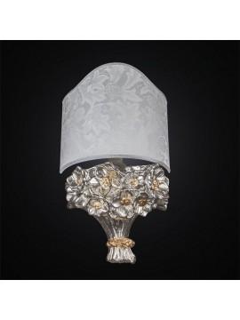 Applique in ceramica mazzo di fiori foglia oro e argento 1 luce BGA 2664/A