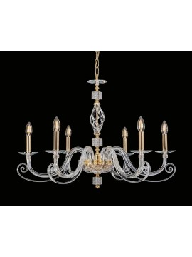 Classic crystal and strass chandelier 6 lights Cristalda Swarovsky design