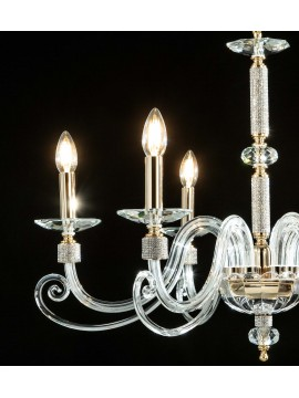 Classic chandelier in crystal and rhinestones 6 lights Design Swarovsky Kelly