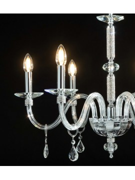 Modern crystal and strass chandelier 6 lights Design Swarovsky Ellen