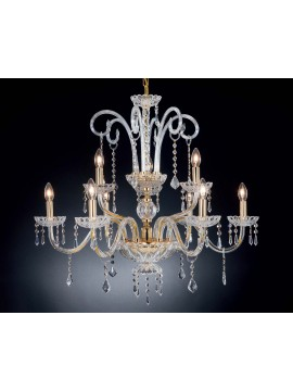 Classic crystal chandelier with 9 lights Design Swarovsky Carmelina