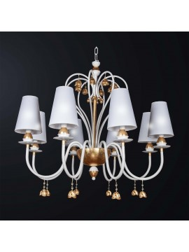 Classic white and gold leaf chandelier with 8 lights BGA 3157-8