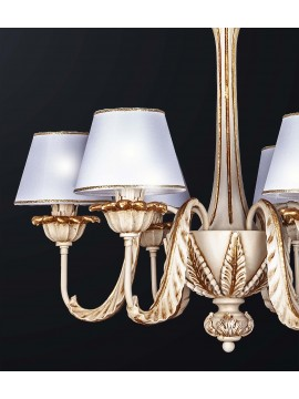 Classic chandelier in ivory wood and gold leaf with 6 lights BGA 3159-6