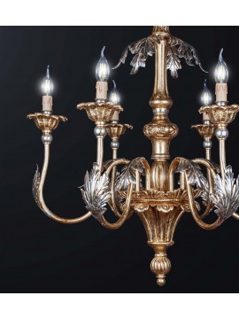 Classic chandelier in gold-silver leaf wood with 6 lights BGA 3161-6