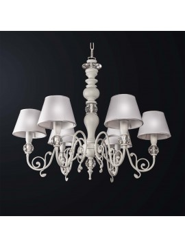 Classic white brass and wood swarovsky design chandelier 6 lights BGA 3168-6