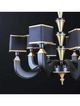 Classic chandelier in black wood and brass with 8 lights BGA 3171-8