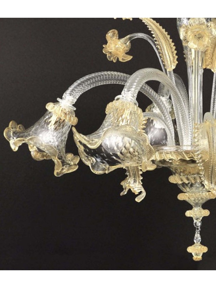 Murano glass chandelier from Venice with 5 lights Elena gold