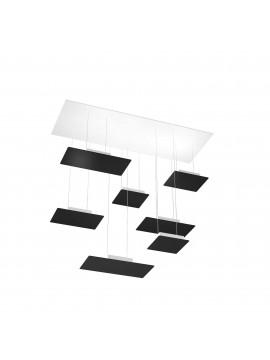 Modern rectangular chandelier for living room design black with 7 lights tpl 0039