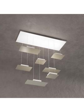 Modern rectangular chandelier for living room dove gray design with 7 lights tpl 0040
