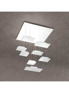 Modern square chandelier for living room white design with 8 lights tpl 0041