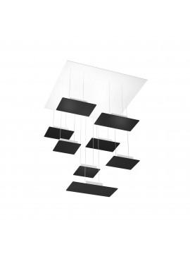 Modern square chandelier for living room black design with 8 lights tpl 0042