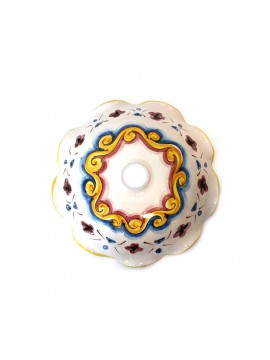 Piatto in ceramica siciliana per lampadario D.30 decoro Candida