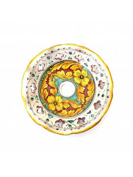Sicilian ceramic plate for chandelier D.30 Giulia decoration