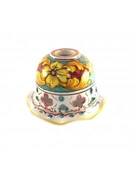 Piatto in ceramica siciliana per lampadario D.16 decoro Giulia