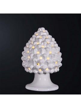 Modern pine cone lamp H.30cm in white ceramic 1 light BGA 3179-lgr
