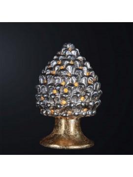 Pine cone lamp H.30cm in gold-silver leaf ceramic 1 light BGA 3179-lgr