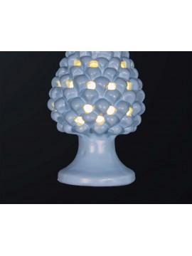 Lampada a pigna H.21cm in ceramica azzurro 1 luce BGA 3179-lm