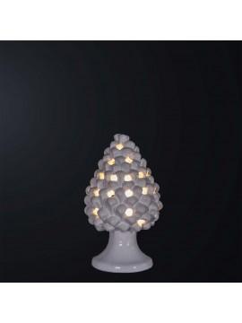 Lampada a pigna H.21cm in ceramica bianca 1 luce BGA 3179-lm