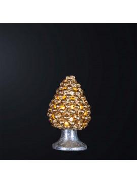 Lampada a pigna H.21cm in ceramica foglia oro-argento 1 luce BGA 3179-lm