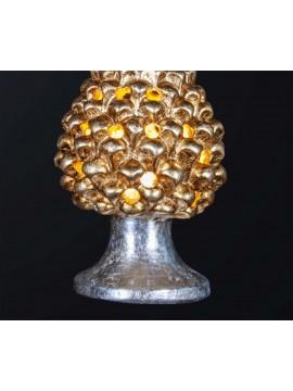 Pine cone lamp H.21cm in gold-silver leaf ceramic 1 light BGA 3179-lm